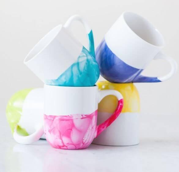 marble dipped mug