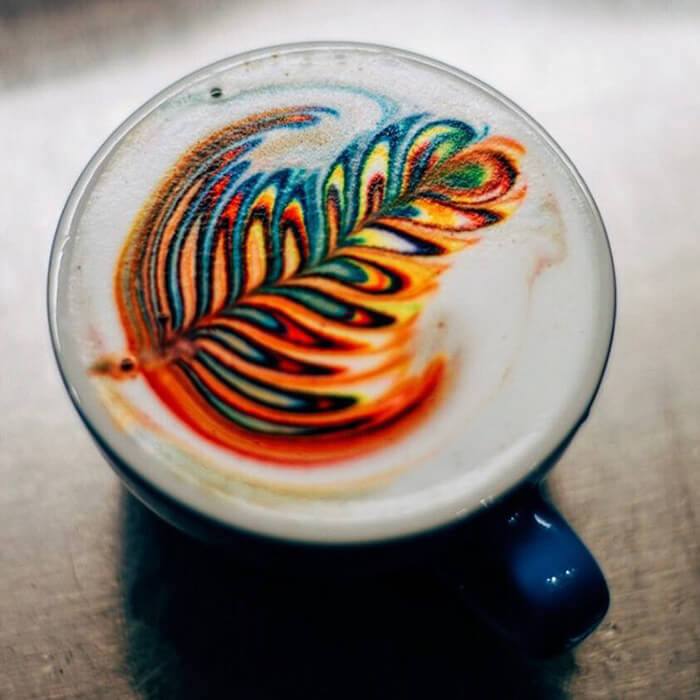 Barista Creates Colourful Coffee Latte Art Using Food Dye