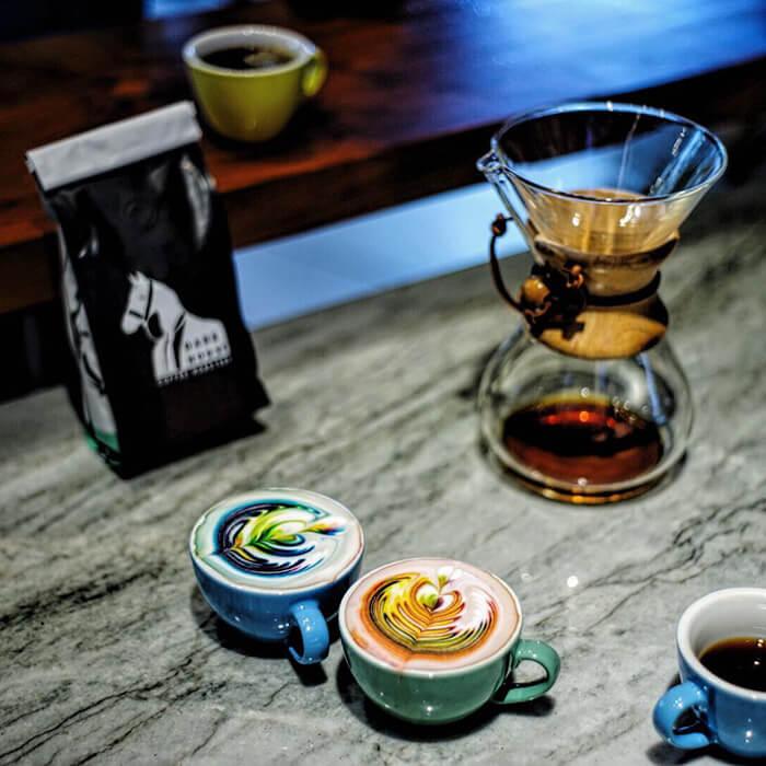 Barista Creates Colourful Coffee Latte Art Using Food Dye