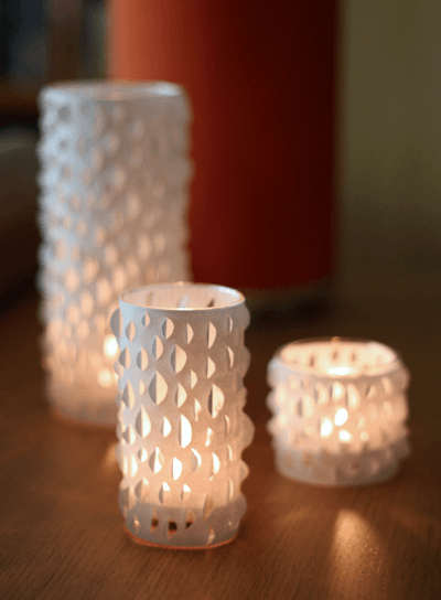 DIY cut-paper candle holders, diy candle
