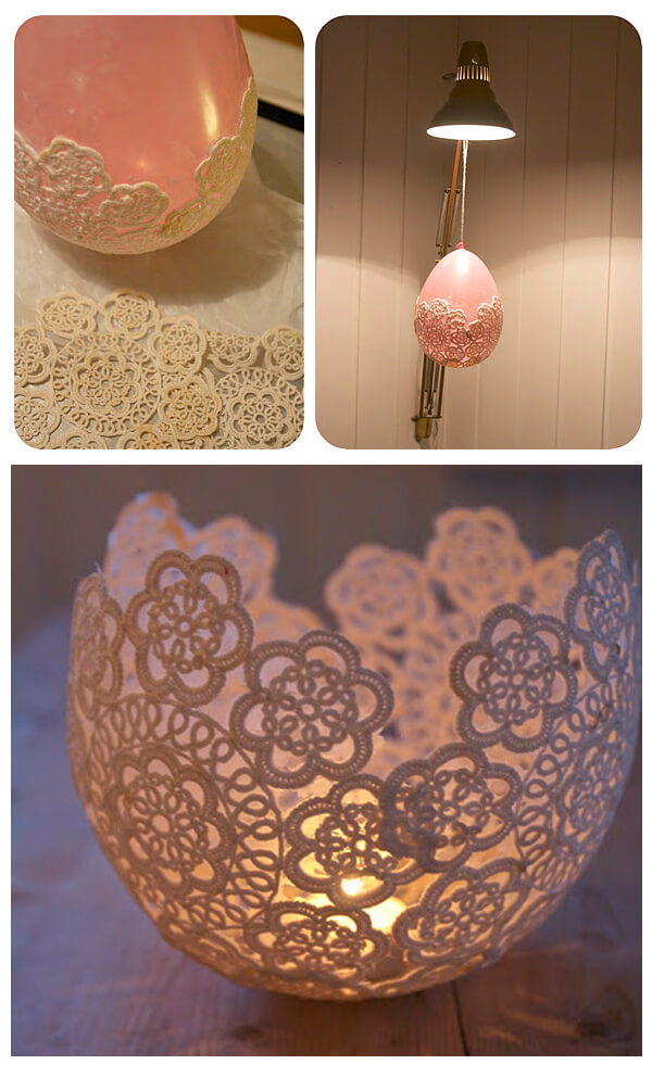 DIY Doily Candle holder, diy candle