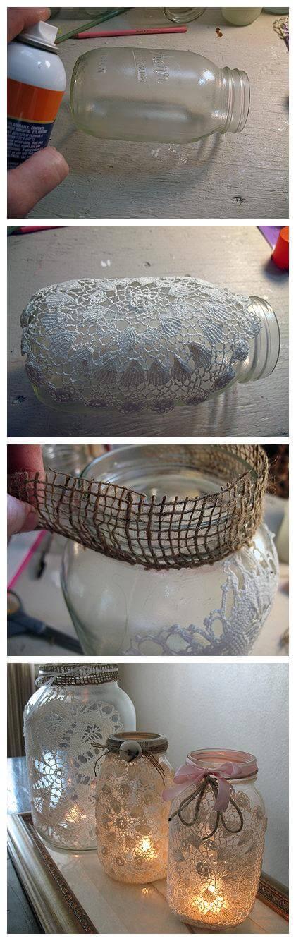 DIY Burlap and Doily Luminaries, diy candle