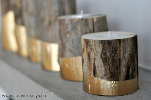 Gold Dipped Log Candle Holders, diy candle