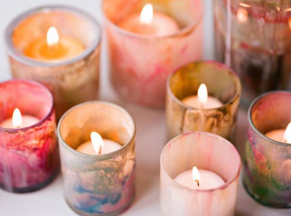 DIY Painted Votive, diy candle