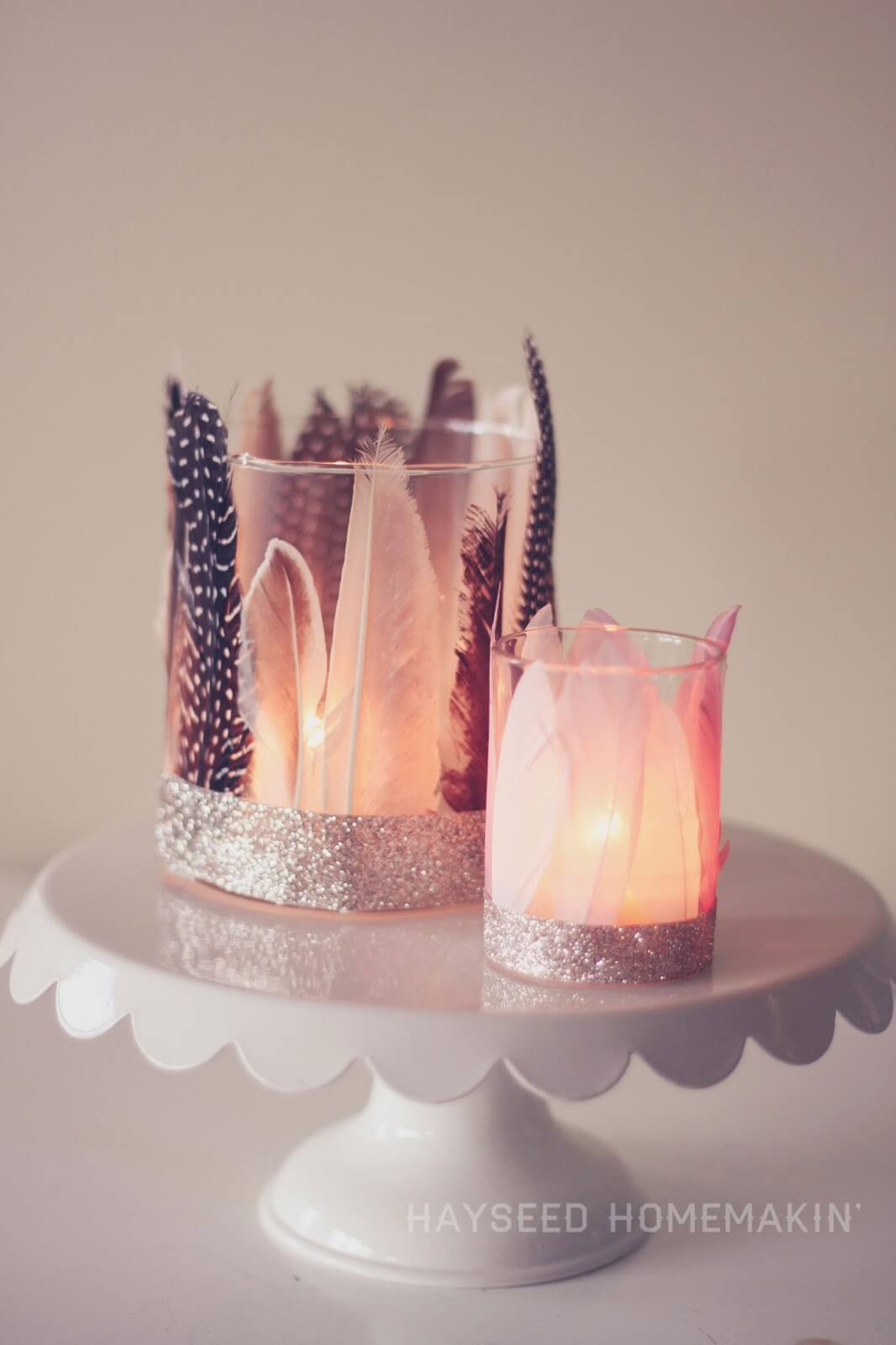 Feathered Votive Holders, diy candle