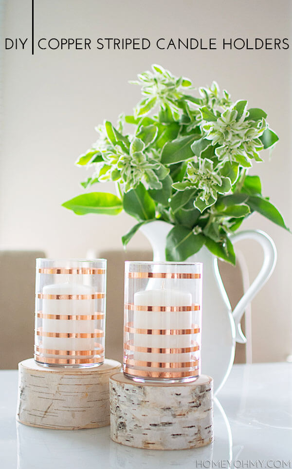 DIY Copper Striped Candle Holders, diy candle