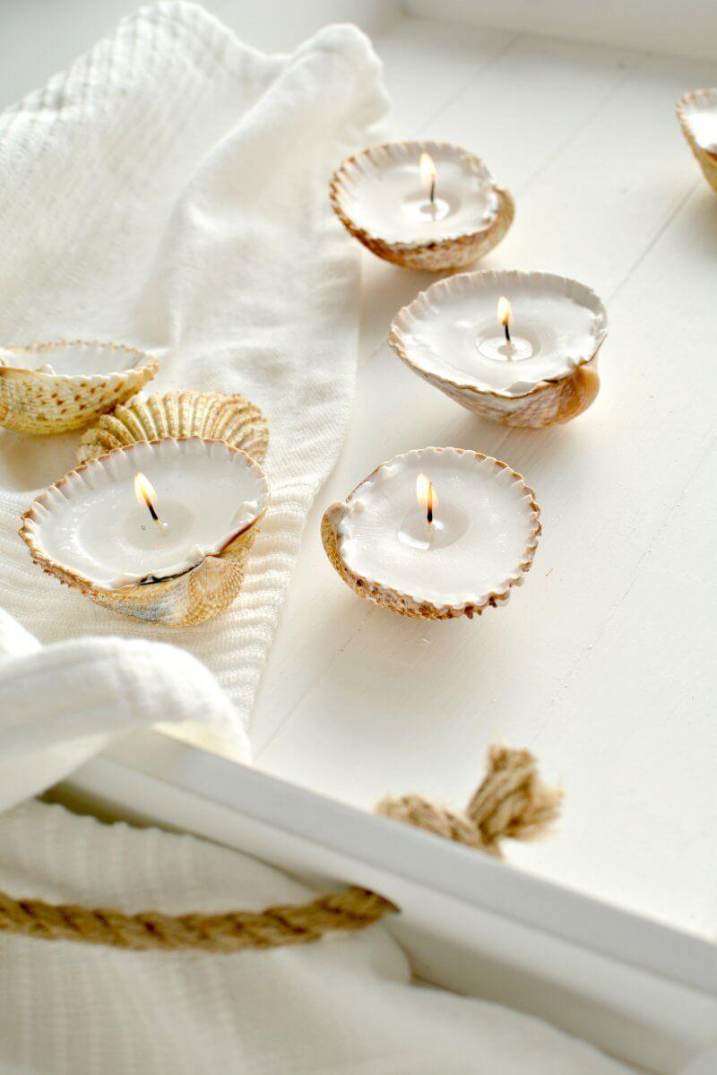 DIY Handmade Shell Candles, diy candle