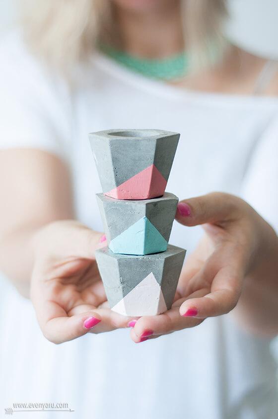 DIY Tiny Concrete Candlesticks, diy candle