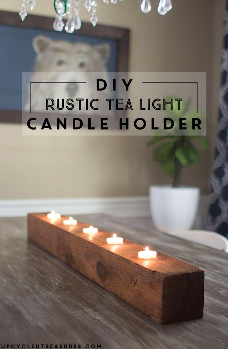 DIY Rustic Tea Light Candle Holder, diy candle