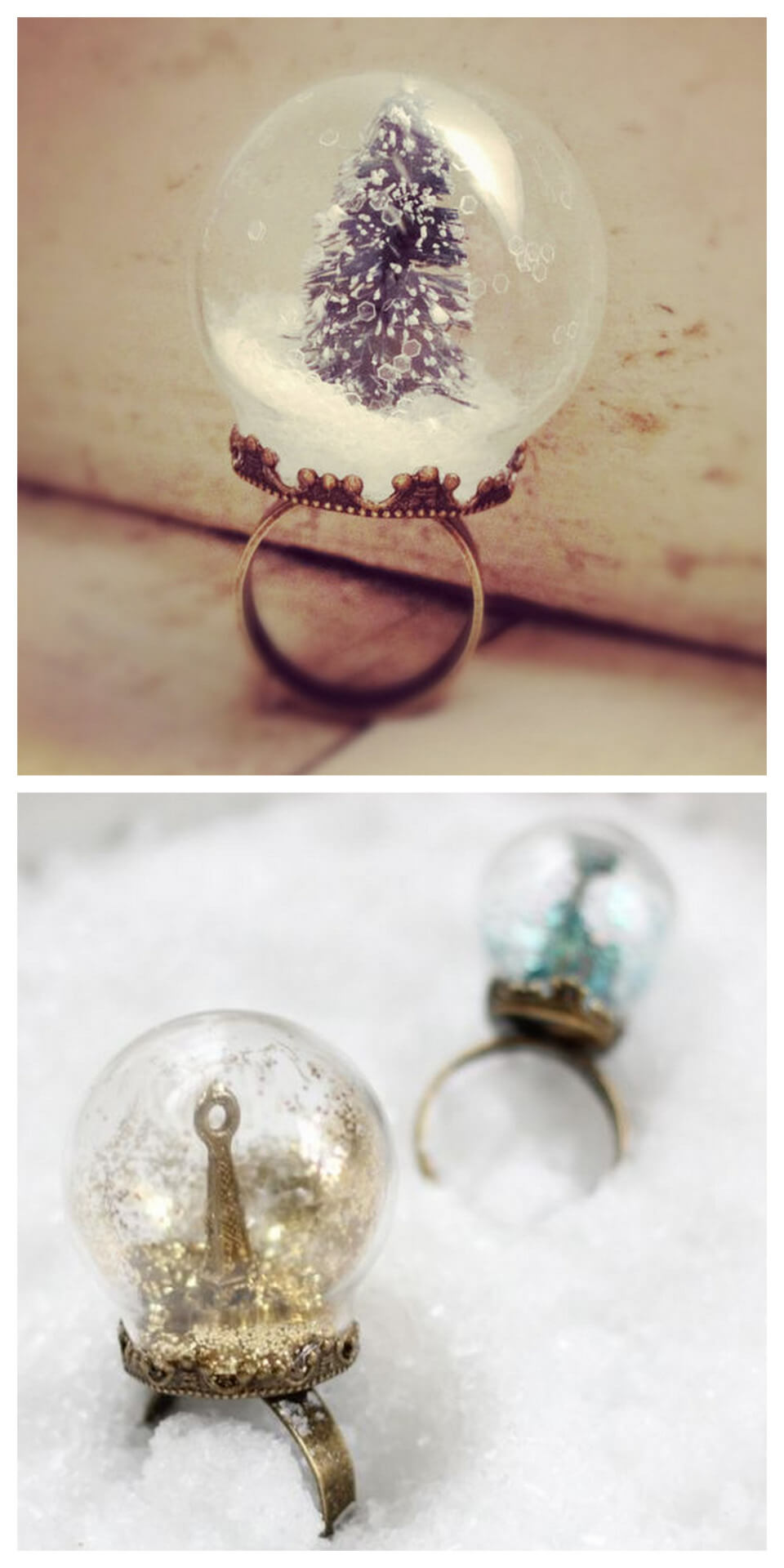 DIY Snow Globe Ring, snow globe