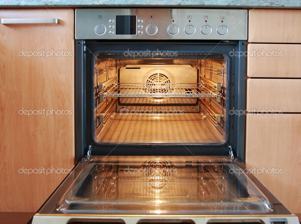 Empty open oven
