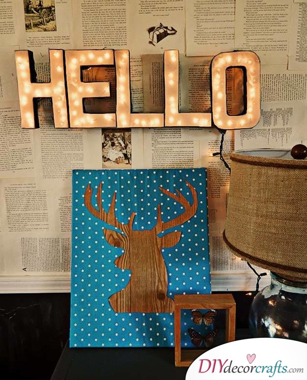 10 Amazing DIY Dorm Room Ideas To Spice Things Up Next Semester, Lighted Letters