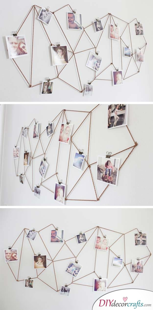 10 Amazing DIY Dorm Room Ideas To Spice Things Up Next Semester, Geometric Photo Display