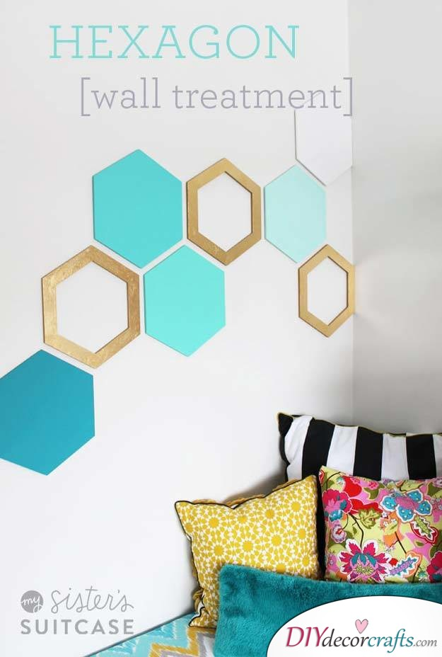 10 Amazing DIY Dorm Room Ideas To Spice Things Up Next Semester, Hexagon Wall