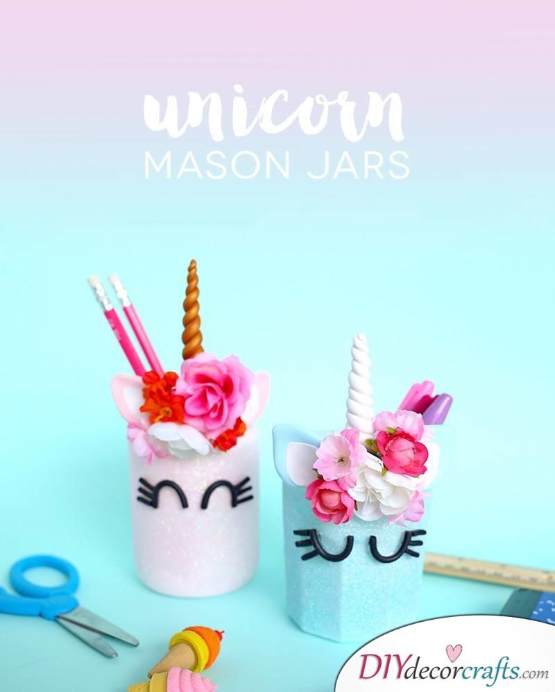 10 Amazing and Impressive DIY Unicorn Ideas, Unicorn Mason Jars