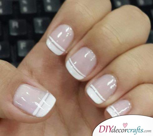 10 Best Nail Designs For A Date Night, White Double Striping