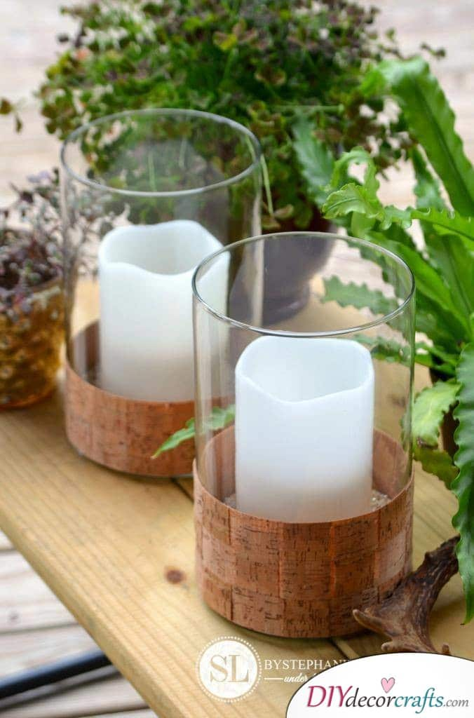 10 DIY Candle Holders To Make Your Home More Attractive, Cork Ribbon
