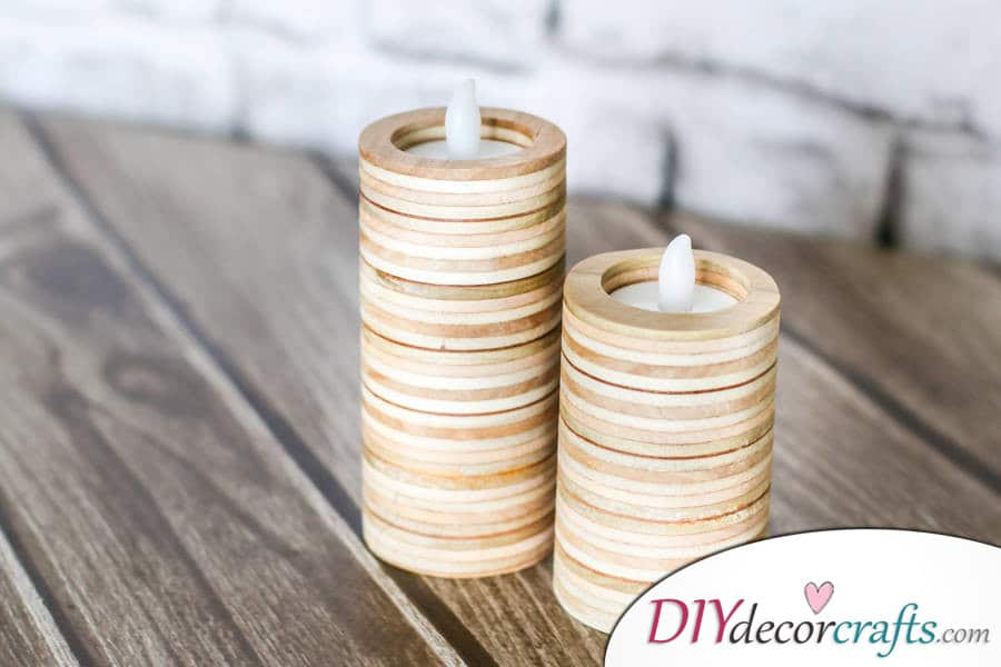 10 DIY Candle Holders To Make Your Home More Attractive, Plywood Candle Holder