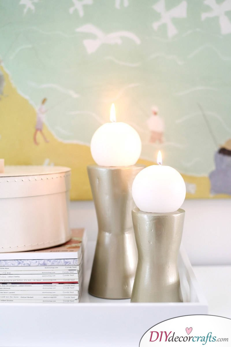 10 DIY Candle Holders To Make Your Home More Attractive, Modern Metallic Candle Holder