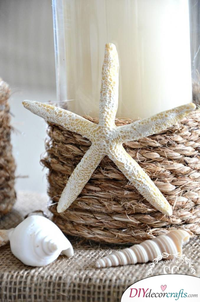 10 DIY Candle Holders To Make Your Home More Attractive, Rope Wrapped Candle Holders