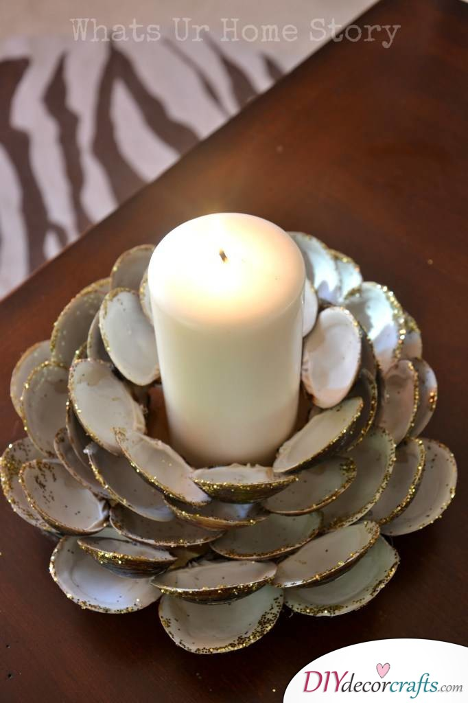 10 DIY Candle Holders To Make Your Home More Attractive, Seashell Design