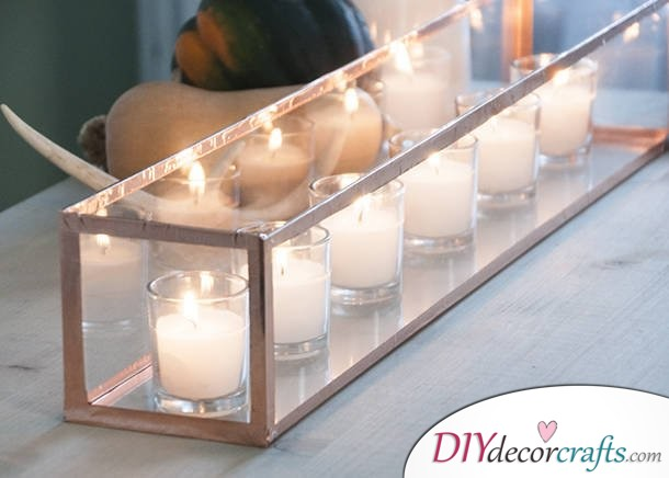 10 DIY Candle Holders To Make Your Home More Attractive, Copper Lined Glass Candle Holder