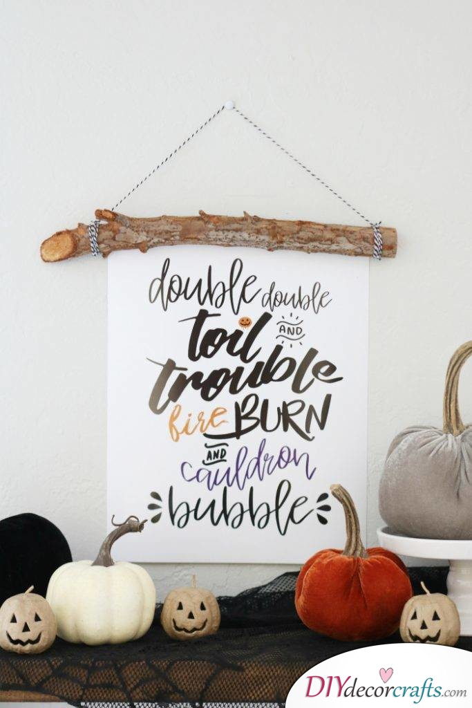 10 DIY Halloween Decor Ideas, Double Double Toil And Trouble Banner