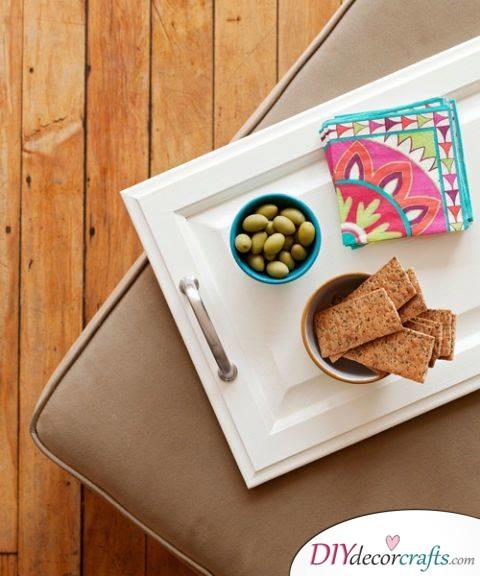 10 Simple DIY Home Decor Ideas, Cabinet Door Tray