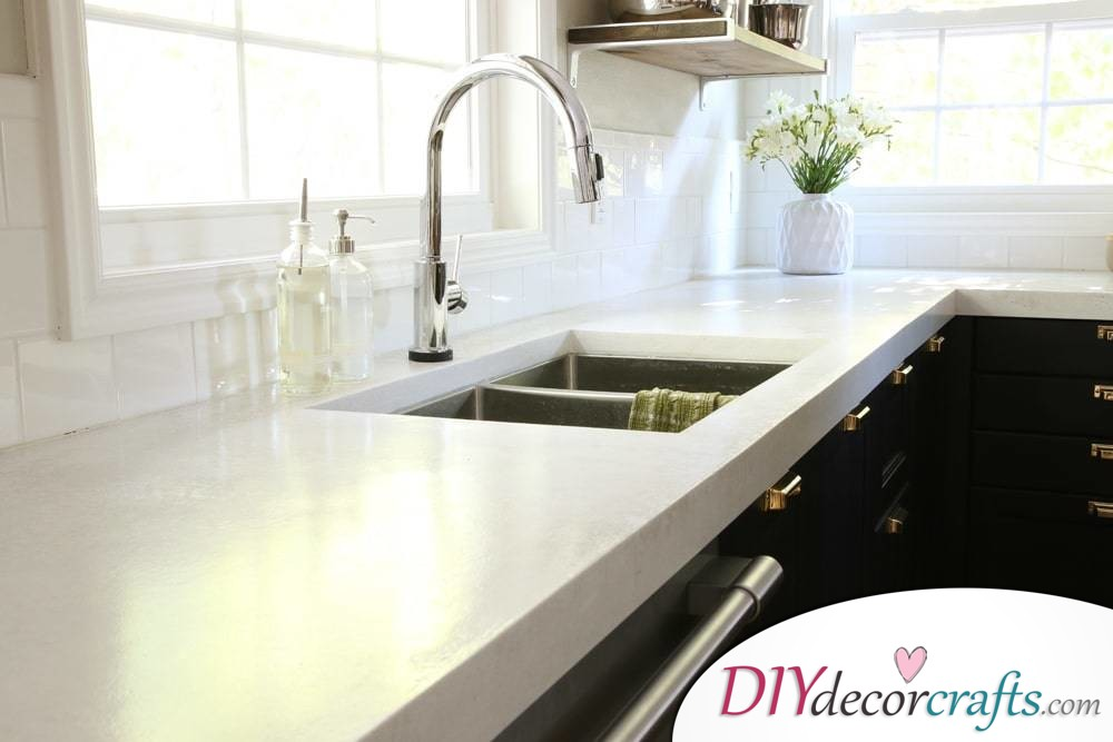 10 Simple Yet Amazing DIY Kitchen Countertop Ideas That Will Blow You Away, White Concrete