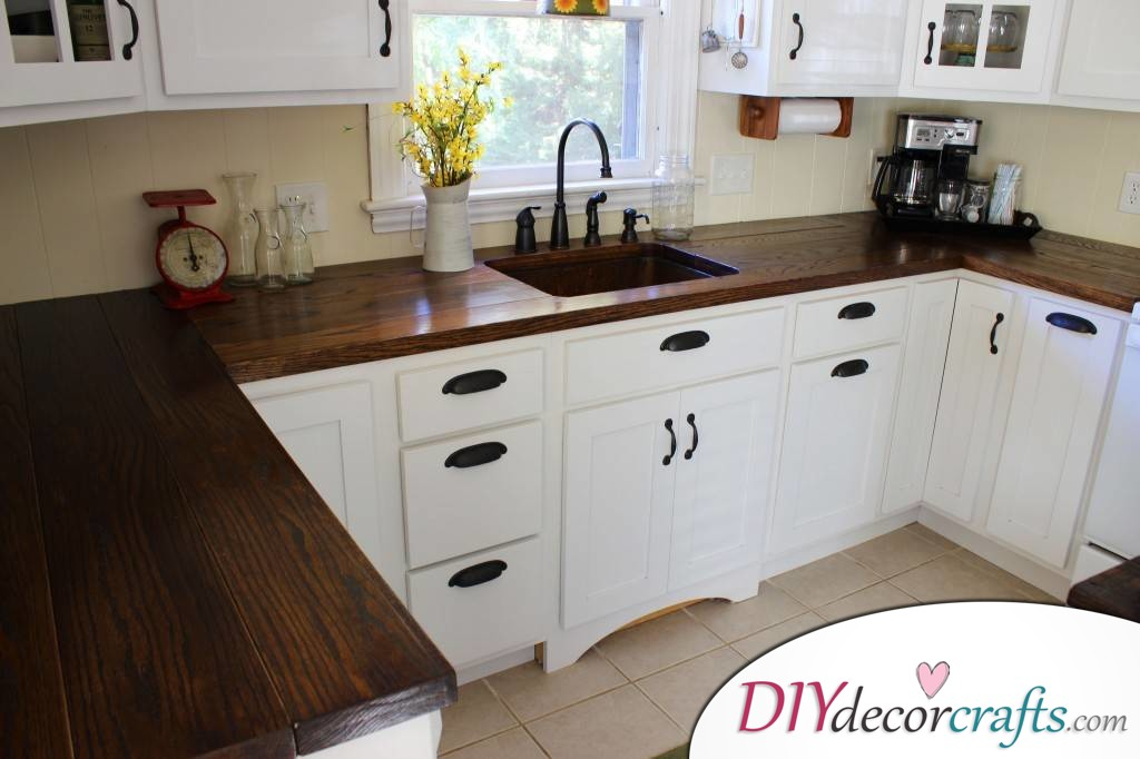 10 Simple Yet Amazing DIY Kitchen Countertop Ideas That Will Blow You Away, Planked Butcher Block
