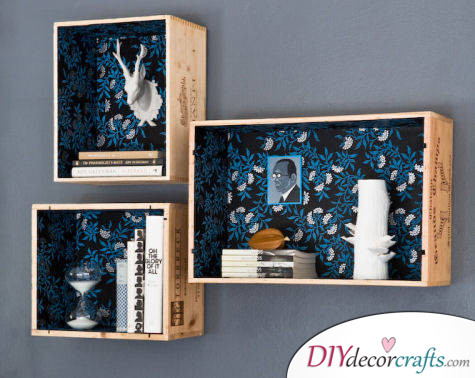 10 Wall Decor Ideas, Simple DIY Wall Decors, Wine Crate Display