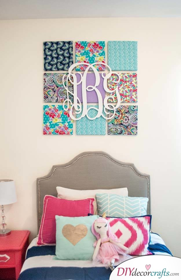 10 Wall Decor Ideas, Simple DIY Wall Decors, Fabric Wall Art