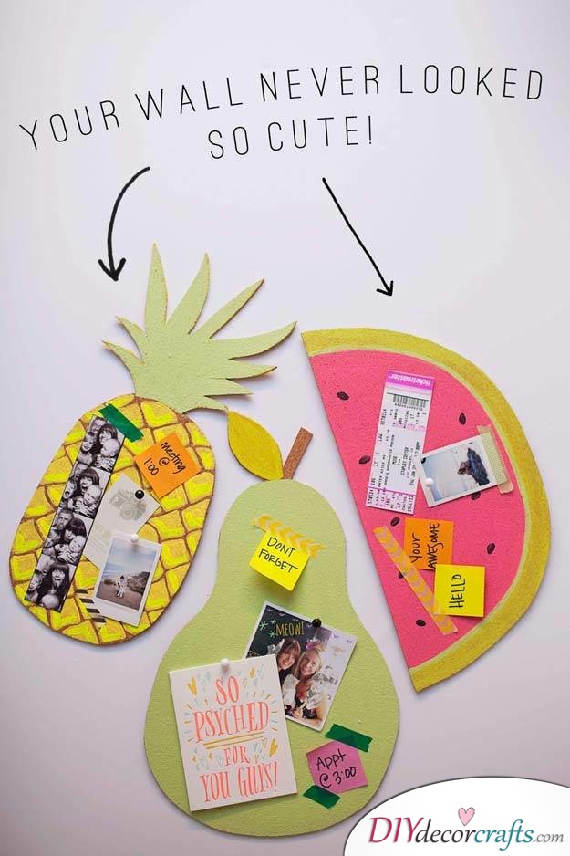 10 Wall Decor Ideas, Simple DIY Wall Decors, Fruit Bulletin Boards