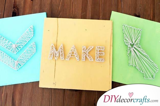 10 Wall Decor Ideas, Simple DIY Wall Decors, Nail String Art