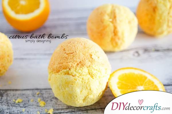 15 Homemade DIY Bath Bombs, Citrus Bath Bombs
