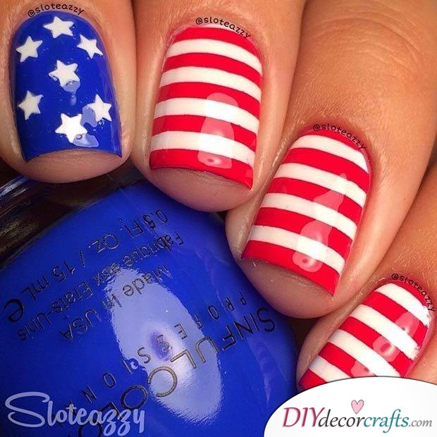15 Trendy And Amazing Nail Designs Perfect For The Summer, American Flag