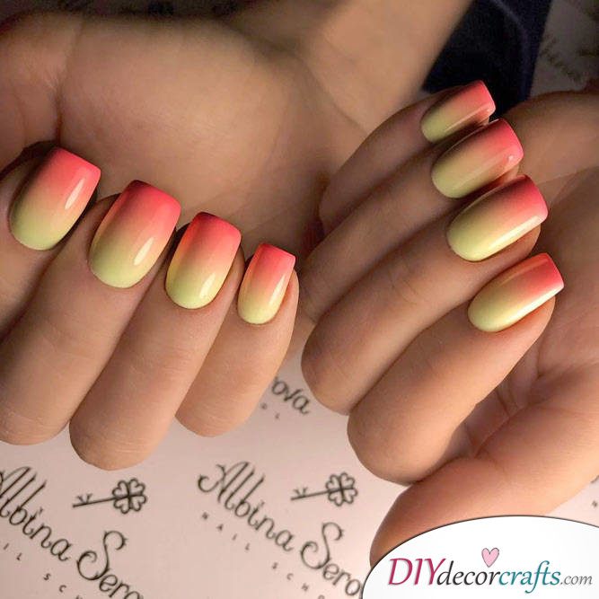 15 Trendy And Amazing Nail Designs Perfect For The Summer, Luxury Yellow-Pink Shade