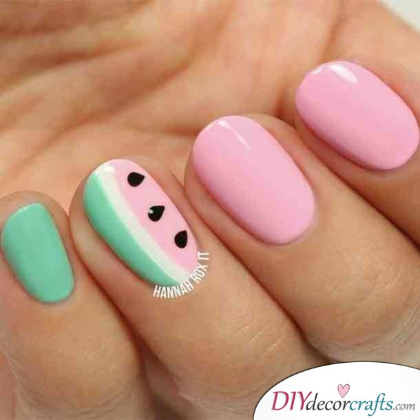 15 Trendy And Amazing Nail Designs Perfect For The Summer, Watermelon