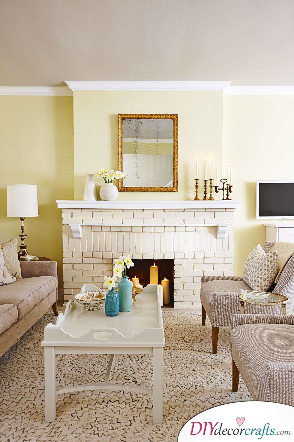 Renovate Your Home With These Simple Home Renovation Ideas, Painted Bricks Fireplace
