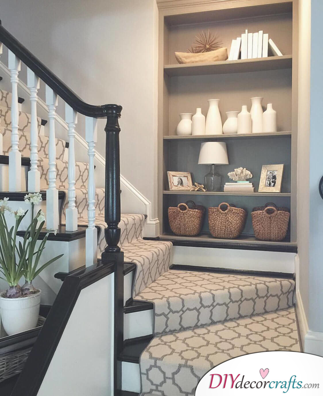 Simple Ways To Freshen Up Stairways, Built-In Storage Nook