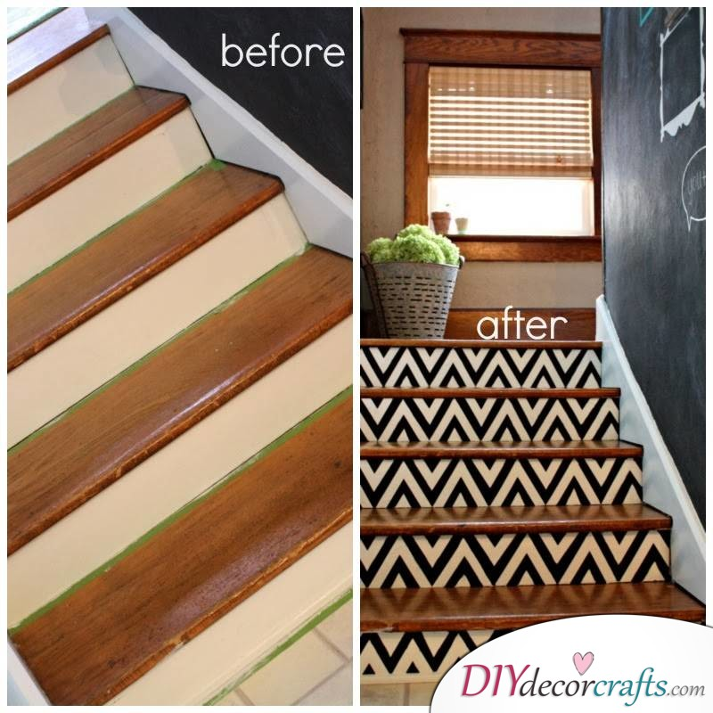 Simple Ways To Freshen Up Stairways, Chevron Stairs