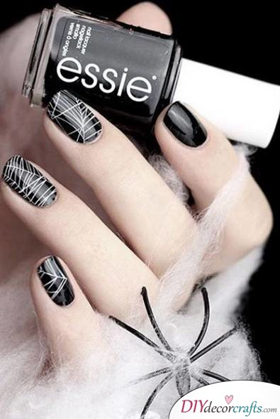 The Best Nail Art Ideas For Halloween, Cobweb Nails