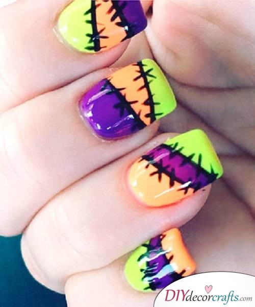 Stitched Up Nails - DIY Halloween Nail Art Ideas