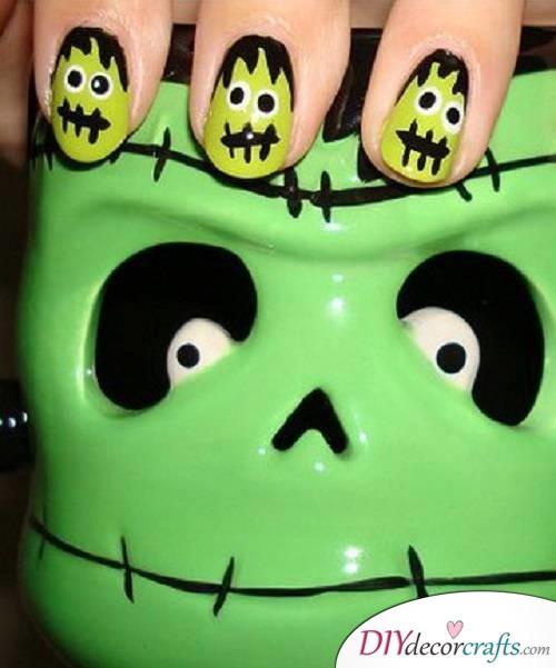 Frankenstein - DIY Halloween Nail Art Ideas