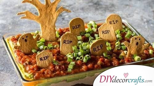 Graveyard Taco Dip - Easy Halloween Food Ideas For Kids