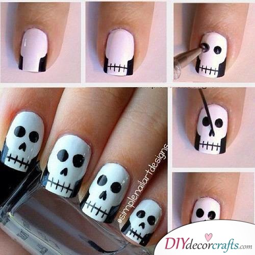 Skull Nails - Halloween Nail Art