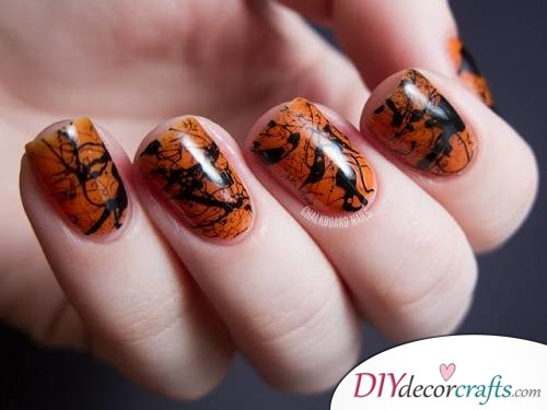 Spooky Splatter Nails - Halloween Nail Art