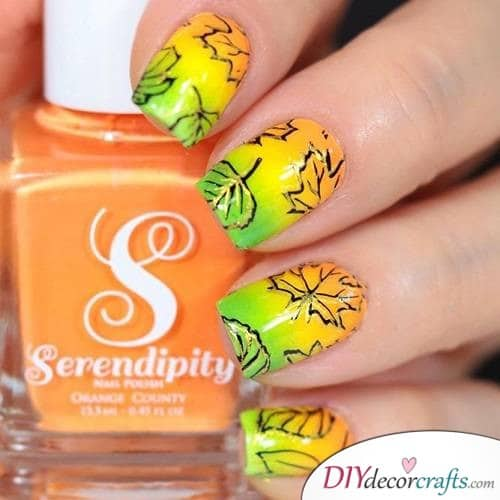 Colorful ombre - Cute and Pretty Fall Nail Art Ideas