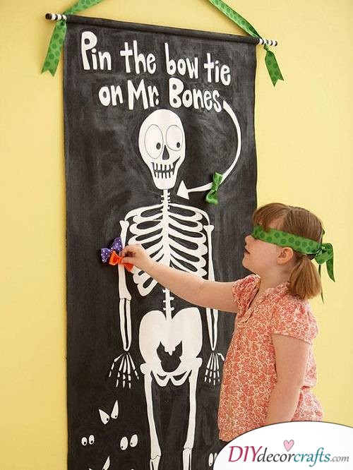 Pin The Bow Tie On The Skeleton - Halloween Party Game