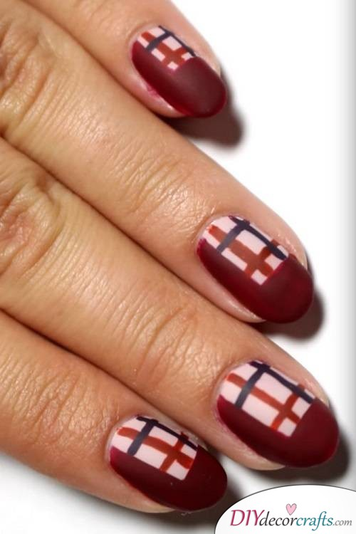 Plaid - Thanksgiving Nail Art